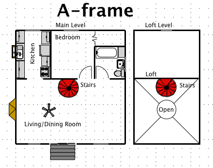 A frame house style a free ez architect floor plan for for A frame cottage floor plans