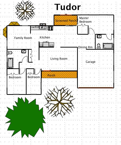 Tudor house style a free ez architect floor plan for for Tudor home floor plans