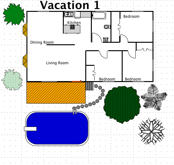 Vacation house style a free macdraft floor plan for the for Free vacation home plans