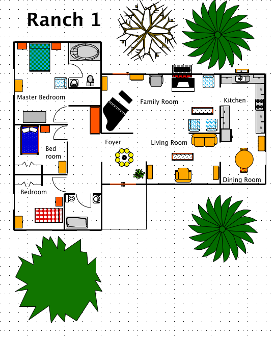 Ranch house style a free macdraft floor plan for the mac for Free floor plans for ranch style homes